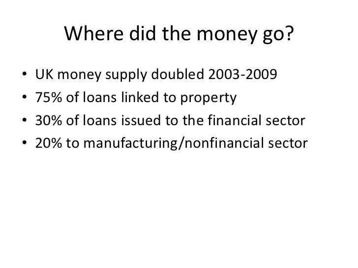 Where did the money go?•   UK money supply doubled 2003-2009•   75% of loans linked to property•   30% of loans issued to ...