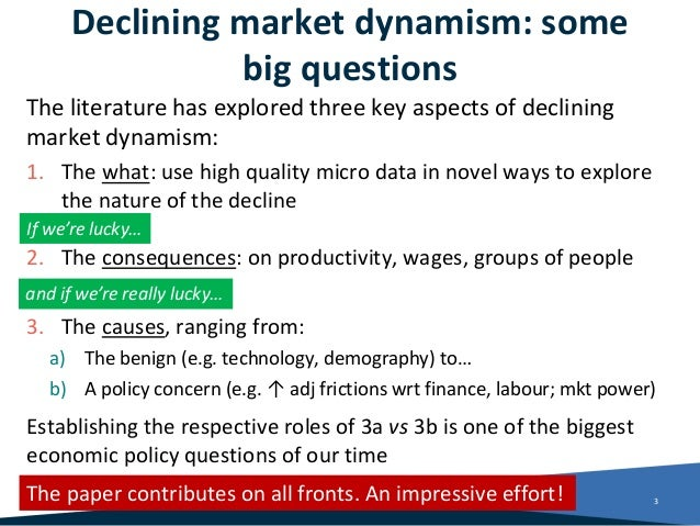 Declining market dynamism: some big questions The literature has explored three key aspects of declining market dynamism: ...
