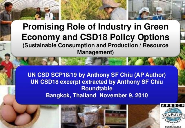 Promising Role of Industry in Green Economy and CSD18 Policy Options (Sustainable Consumption and Production / Resource Ma...