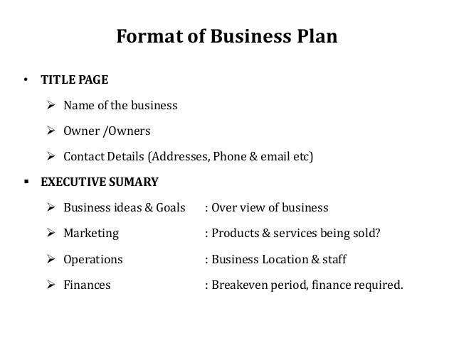 Business plan of different company names