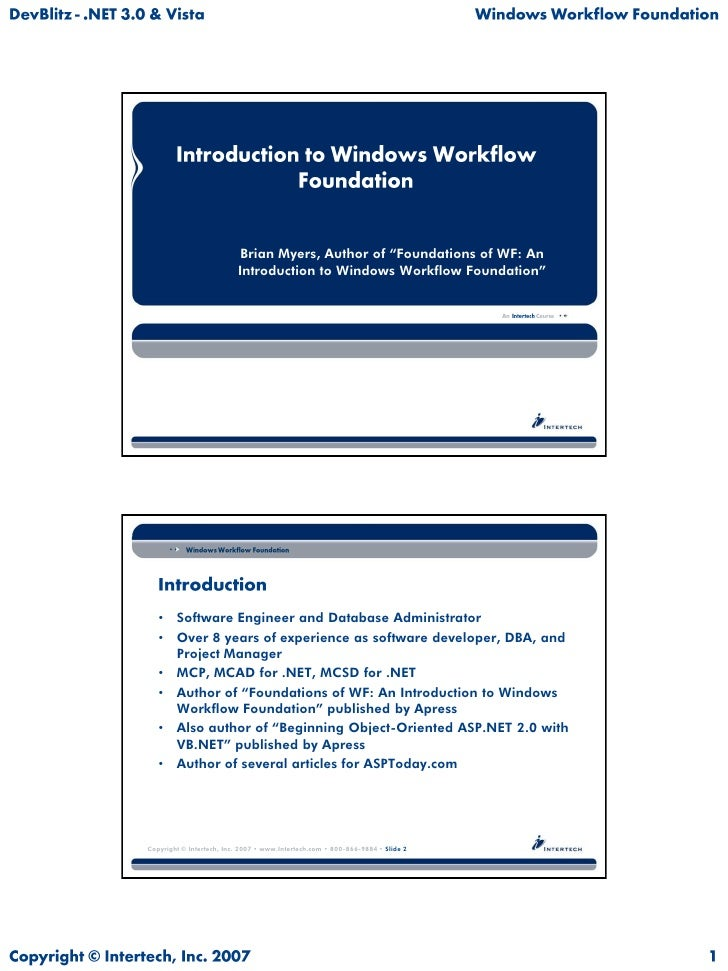 """Brian Myers, Author of """"Foundations of WF: An                           Introduction to Windows Workflow Foundation""""      ..."""