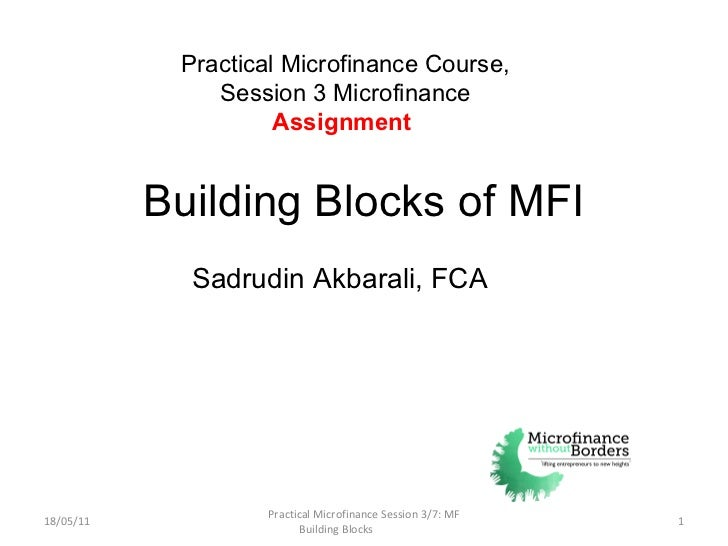 Building Blocks of MFI 18/05/11 Practical Microfinance Session 3/7: MF Building Blocks  Practical Microfinance Course, Ses...