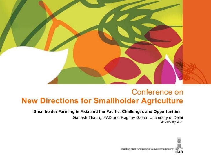 Conference on New Directions for Smallholder Agriculture Smallholder Farming in Asia and the Pacific: Challenges and Oppor...