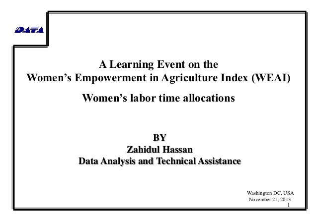 A Learning Event on the Women's Empowerment in Agriculture Index (WEAI) Women's labor time allocations  BY Zahidul Hassan ...