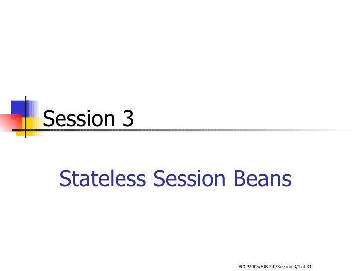 Stateless Session Beans Session 3