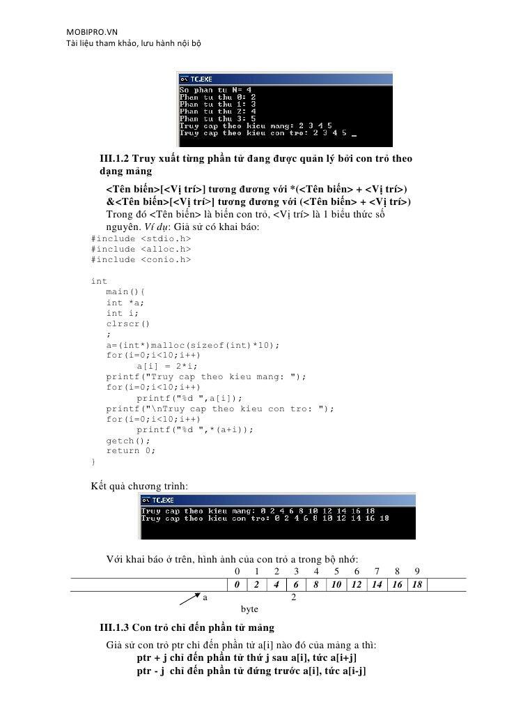 MOBIPRO.VNTài liệu tham khảo, lưu hành nội bộ        III.1.2 Truy xuất từng phần tử đang được quản lý bởi con trỏ theo    ...