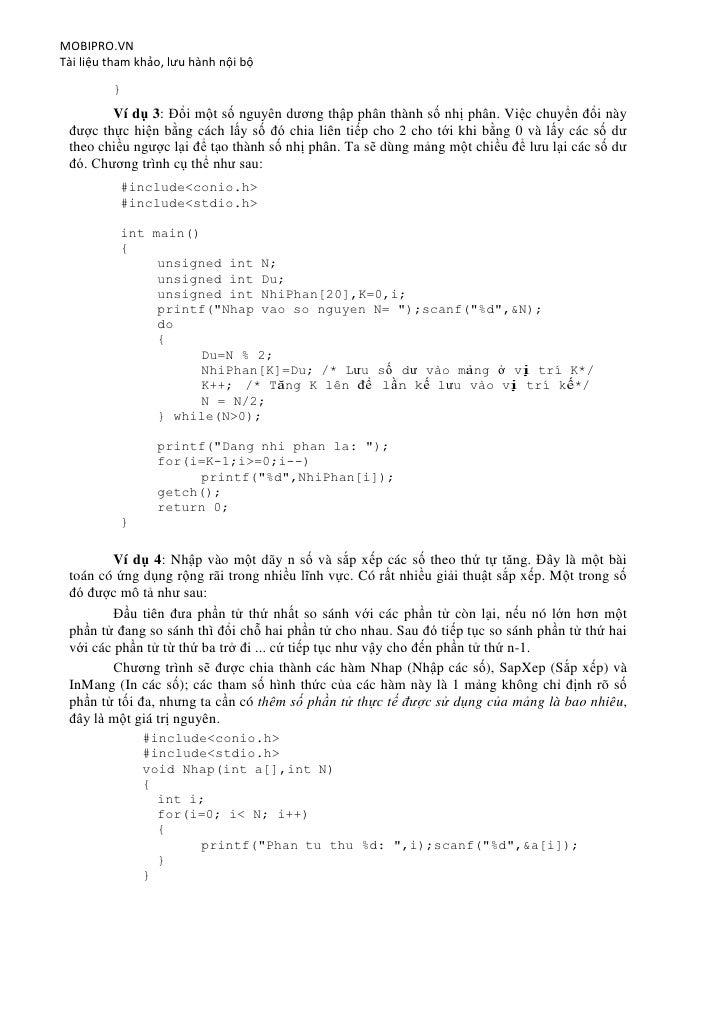 MOBIPRO.VNTài liệu tham khảo, lưu hành nội bộ         }        Ví dụ 3: Đổi một số nguyên dương thập phân thành số nhị phâ...