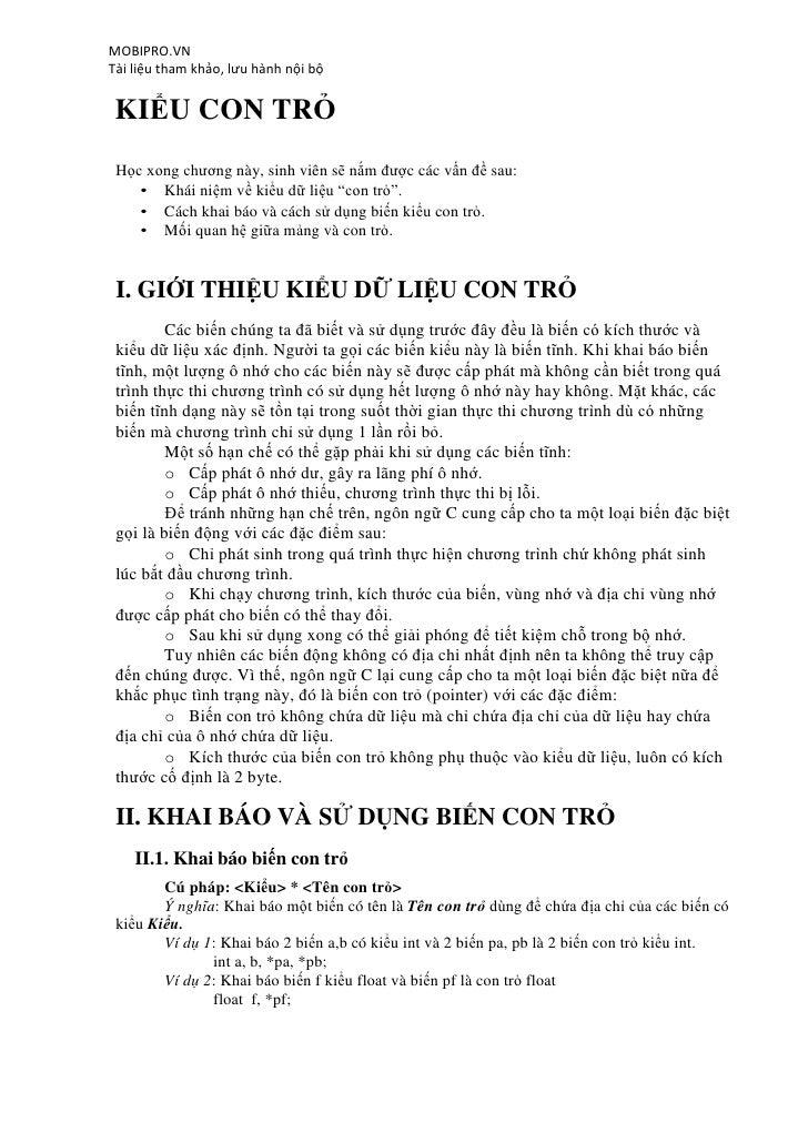 MOBIPRO.VNTài liệu tham khảo, lưu hành nội bộ KIỂU CON TRỎ Học xong chương này, sinh viên sẽ nắm được các vấn đề sau:    •...