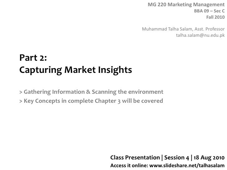 Part 2: Capturing Market Insights<br />> Gathering Information & Scanning the environment<br />> Key Concepts in complete ...