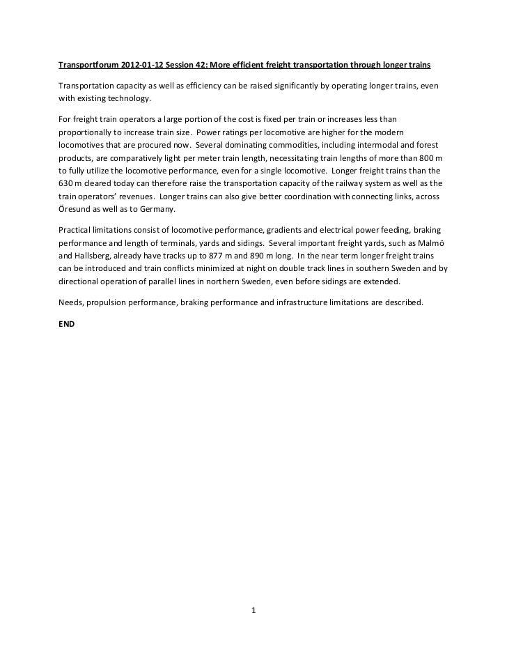 Transportforum 2012-01-12 Session 42: More efficient freight transportation through longer trainsTransportation capacity a...
