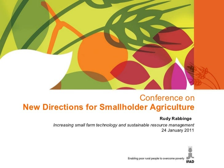 Conference on New Directions for Smallholder Agriculture Rudy Rabbinge  Increasing small farm technology and sustainable r...