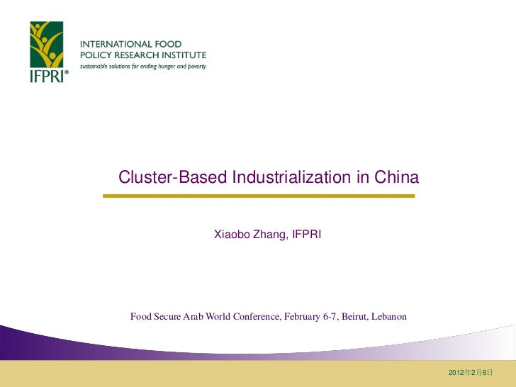 Cluster-Based Industrialization in China                    Xiaobo Zhang, IFPRI Food Secure Arab World Conference, Februar...