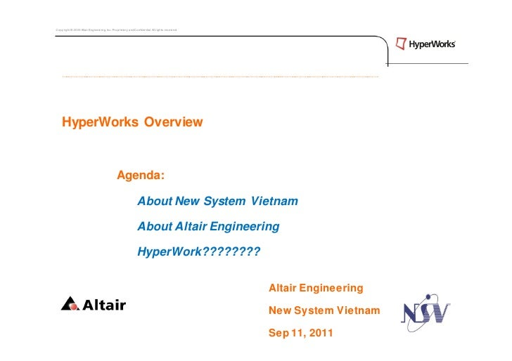 Copyright © 2009 Altair Engineering, Inc. Proprietary and Confidential. All rights reserved.    HyperWorks Overview       ...
