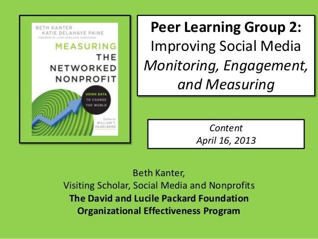 Peer Learning Group 2:                   Improving Social Media                  Monitoring, Engagement,                  ...