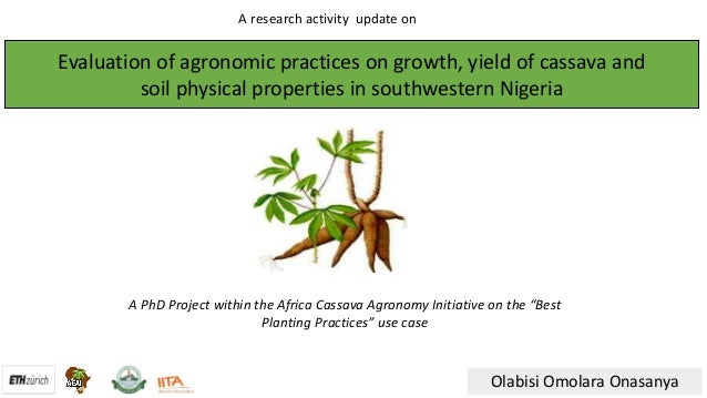 Evaluationofagronomicpracticesongrowth,yieldofcassavaand soilphysicalpropertiesinsouthwesternNigeria Olabisi...