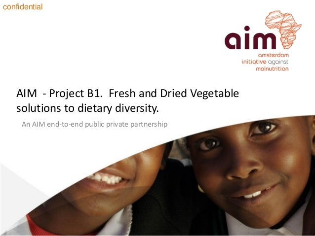 AIM - Project B1. Fresh and Dried Vegetablesolutions to dietary diversity.An AIM end-to-end public private partnershipconf...