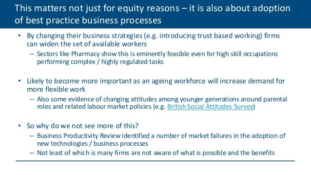 This matters not just for equity reasons – it is also about adoption of best practice business processes • By changing the...