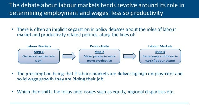 The debate about labour markets tends revolve around its role in determining employment and wages, less so productivity • ...
