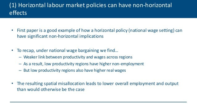 (1) Horizontal labour market policies can have non-horizontal effects • First paper is a good example of how a horizontal ...