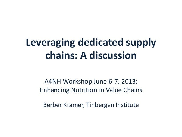 Leveraging dedicated supplychains: A discussionA4NH Workshop June 6-7, 2013:Enhancing Nutrition in Value ChainsBerber Kram...