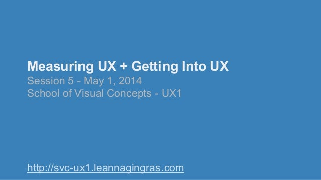 Measuring UX + Getting Into UX Session 5 - May 1, 2014 School of Visual Concepts - UX1 http://svc-ux1.leannagingras.com
