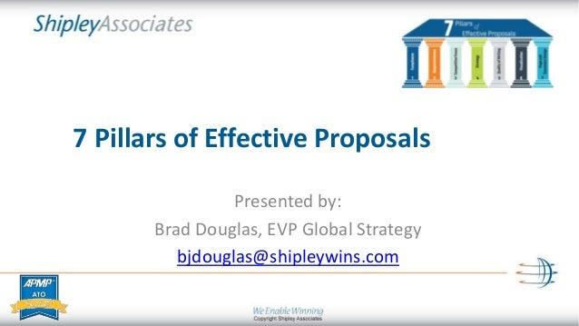 7 Pillars of Effective Proposals Presented by: Brad Douglas, EVP Global Strategy bjdouglas@shipleywins.com