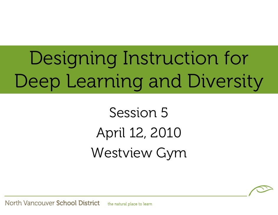 Designing Instruction for Deep Learning and Diversity           Session 5         April 12, 2010         Westview Gym