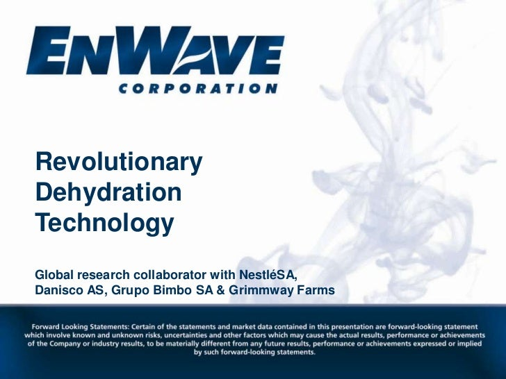 Revolutionary Dehydration Technology<br />Global research collaborator with NestléSA,<br />Danisco AS, Grupo Bimbo SA & Gr...
