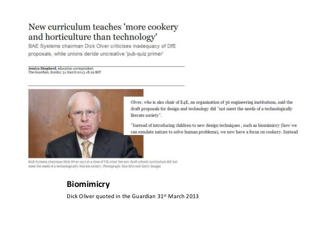 BiomimicryDick Oliver quoted in the Guardian 31st March 2013