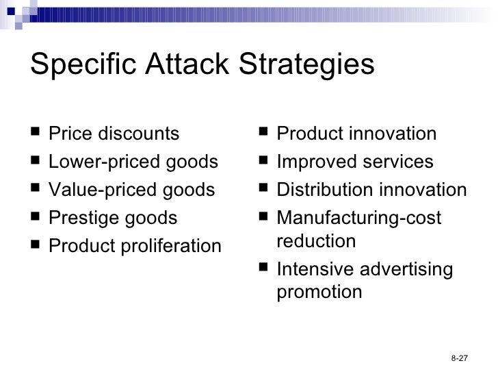 Specific Attack Strategies <ul><li>Price discounts </li></ul><ul><li>Lower-priced goods </li></ul><ul><li>Value-priced goo...