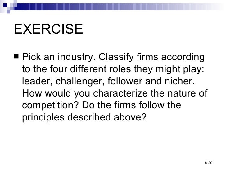 EXERCISE <ul><li>Pick an industry. Classify firms according to the four different roles they might play: leader, challenge...