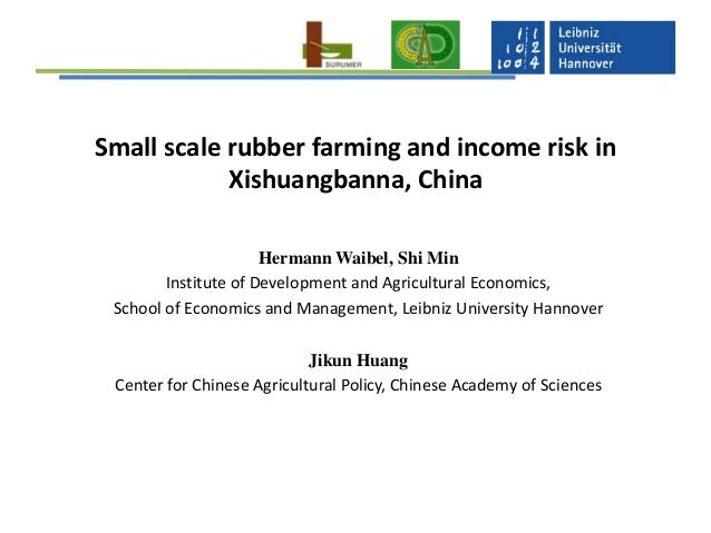 Small scale rubber farming and income risk in Xishuangbanna, China Hermann Waibel, Shi Min Institute of Development and Ag...