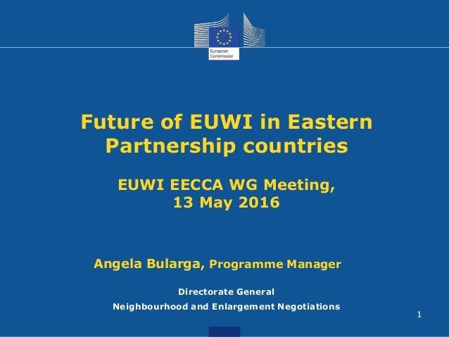 Future of EUWI in Eastern Partnership countries EUWI EECCA WG Meeting, 13 May 2016 Directorate General Neighbourhood and E...