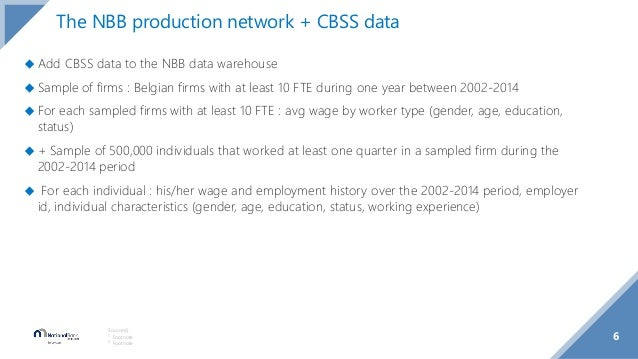 6 Source(s): 1 Footnote 2 Footnote The NBB production network + CBSS data ◆ Add CBSS data to the NBB data warehouse ◆ Samp...
