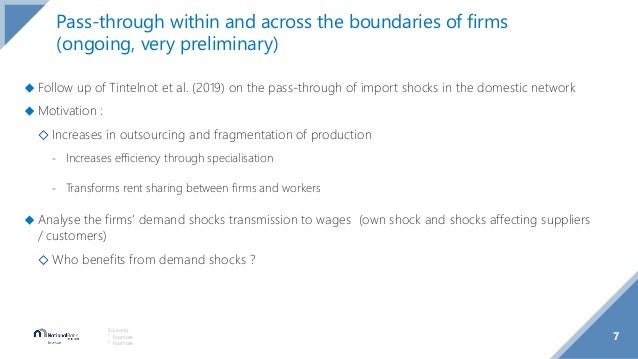 7 Source(s): 1 Footnote 2 Footnote Pass-through within and across the boundaries of firms (ongoing, very preliminary) ◆ Fo...