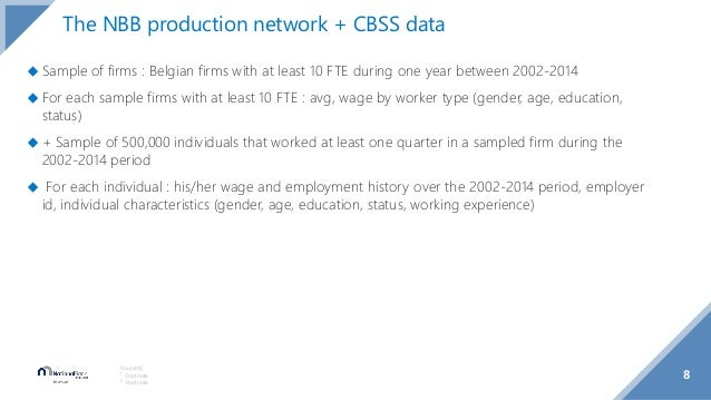8 Source(s): 1 Footnote 2 Footnote The NBB production network + CBSS data ◆ Sample of firms : Belgian firms with at least ...