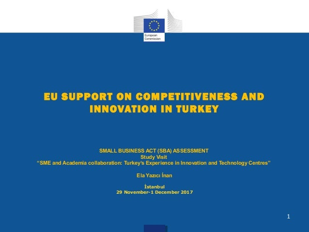 "EU SUPPORT ON COMPETITIVENESS AND INNOVATION IN TURKEY SMALL BUSINESS ACT (SBA) ASSESSMENT Study Visit ""SME and Academia c..."
