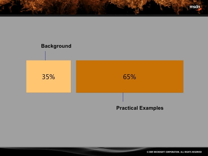 Background Practical Examples 35% 65%