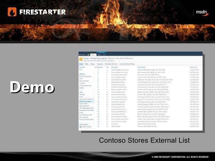 Demo Contoso Stores External List