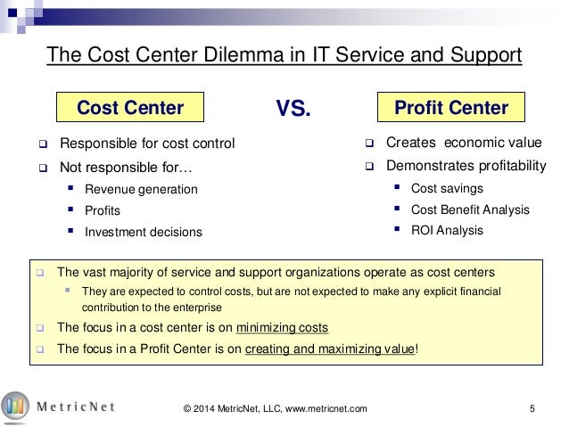cost centres profit centres investment centres What is a 'cost center' a cost center is a department within an organization that does not directly add to profit but still costs the organization money to operate cost centers only contribute to .