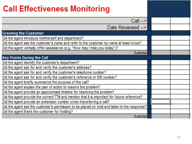 call monitoring template 2013 hdi session 607 call monitoring scoring for success