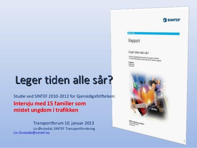 Leger tiden alle sår?Studie ved SINTEF 2010-2012 for GjensidigeStiftelsen:Intervju med 15 familier sommistet ungdom i traf...