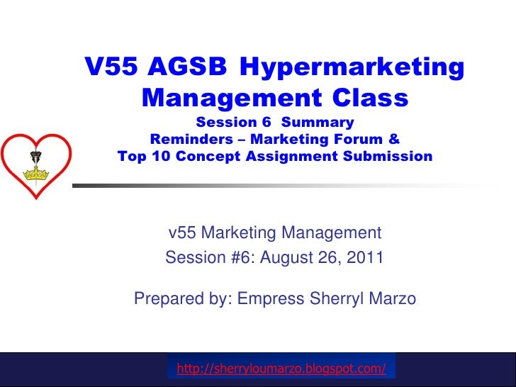 V55 AGSB Hypermarketing Management ClassSession 6  SummaryReminders – Marketing Forum &Top 10 Concept Assignment Submissi...