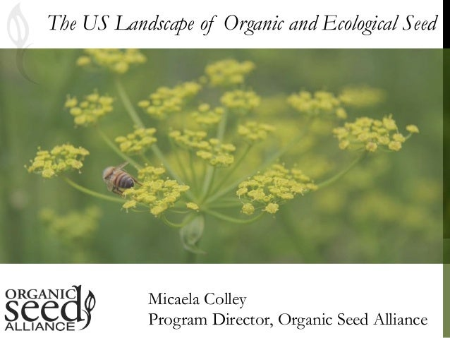 The US Landscape of Organic and Ecological Seed Micaela Colley Program Director, Organic Seed Alliance