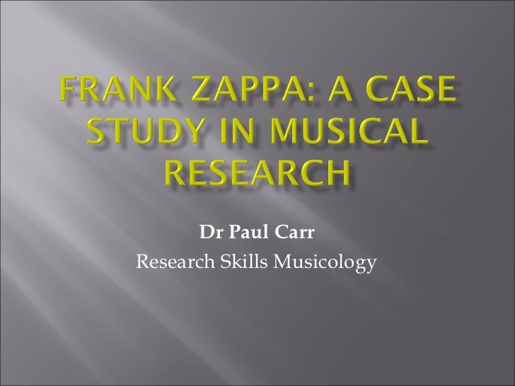 Dr Paul Carr Research Skills Musicology
