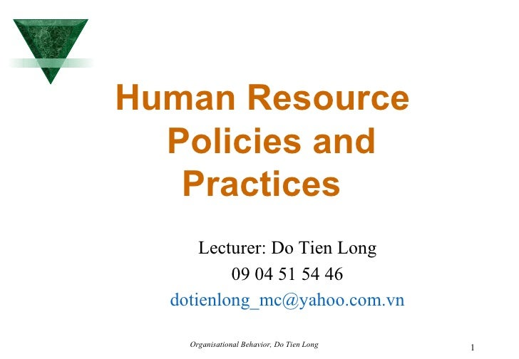 Human Resource Policies and Practices   Lecturer: Do Tien Long 09 04 51 54 46 [email_address]