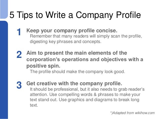 Writing a Business Plan Company Profile for a New Company