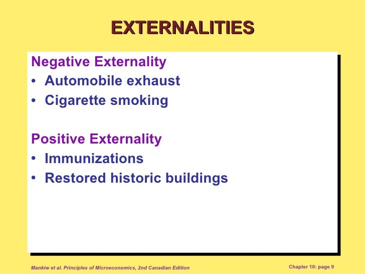 externalities of smoking Consumption externalities have already been discussed they arise when  the  classic example of a production externality is smoke from industrial chimneys.