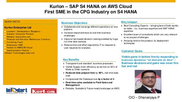 © 2012 SAP AG. All rights reserved. 7 Kurlon – SAP S4 HANA on AWS Cloud First SME in the CPG Industry on S4 HANA Kurlon En...
