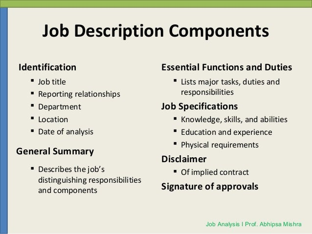 Analysis And Job Description
